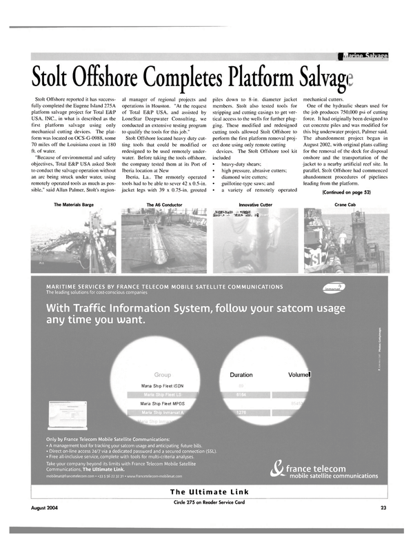 Maritime Reporter Magazine, page 23,  Aug 2004