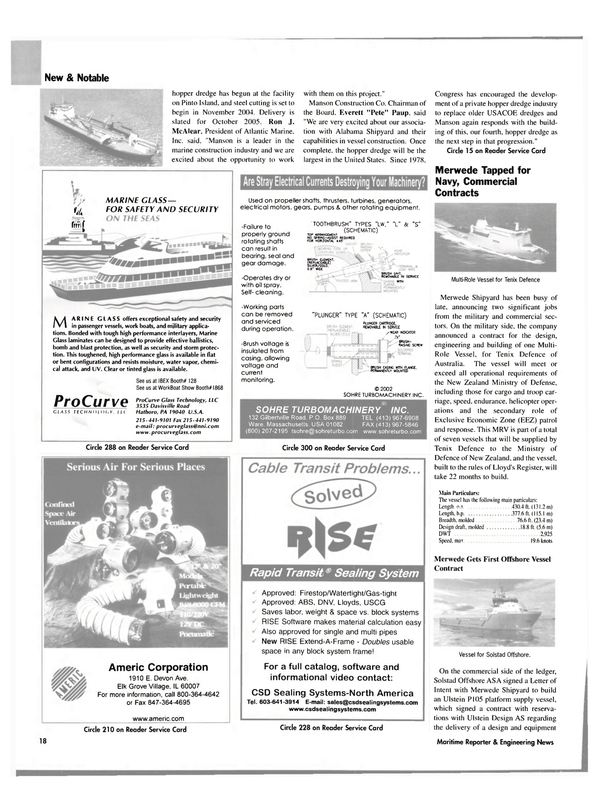 Maritime Reporter Magazine, page 19,  Sep 2004