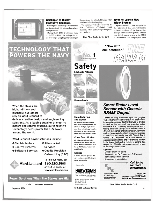 Maritime Reporter Magazine, page 42,  Sep 2004