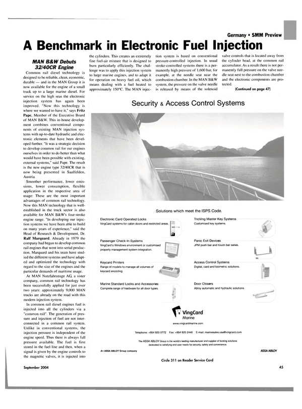 Maritime Reporter Magazine, page 46,  Sep 2004 Electronic Fuel Injection