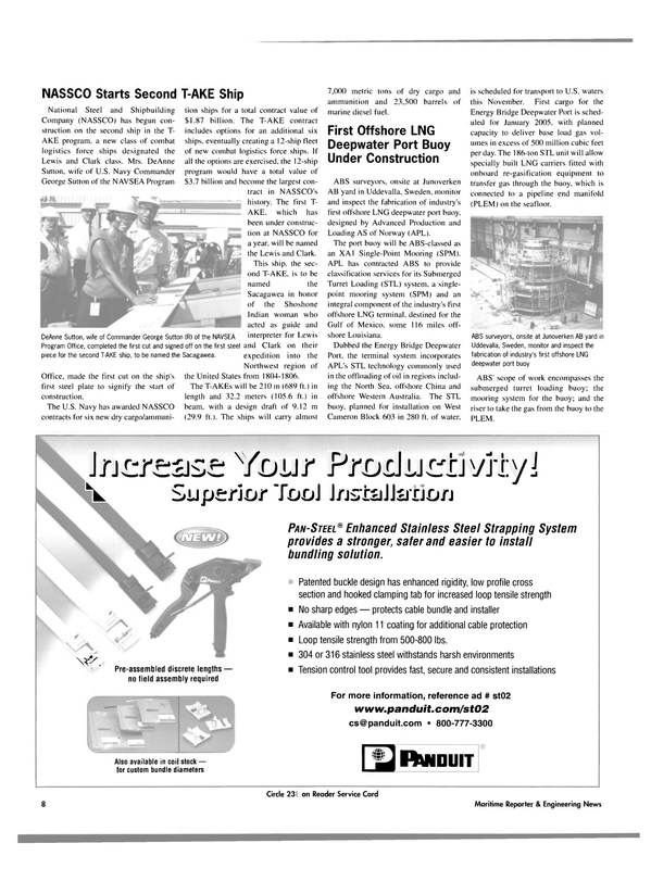 Maritime Reporter Magazine, page 8,  Oct 2004