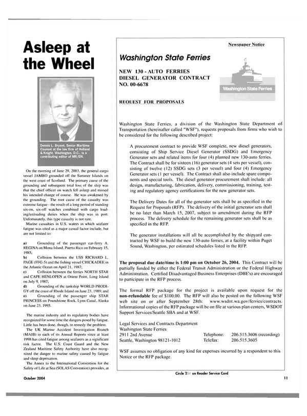 Maritime Reporter Magazine, page 11,  Oct 2004 Rhode Island