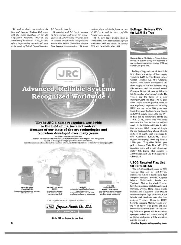 Maritime Reporter Magazine, page 16,  Oct 2004