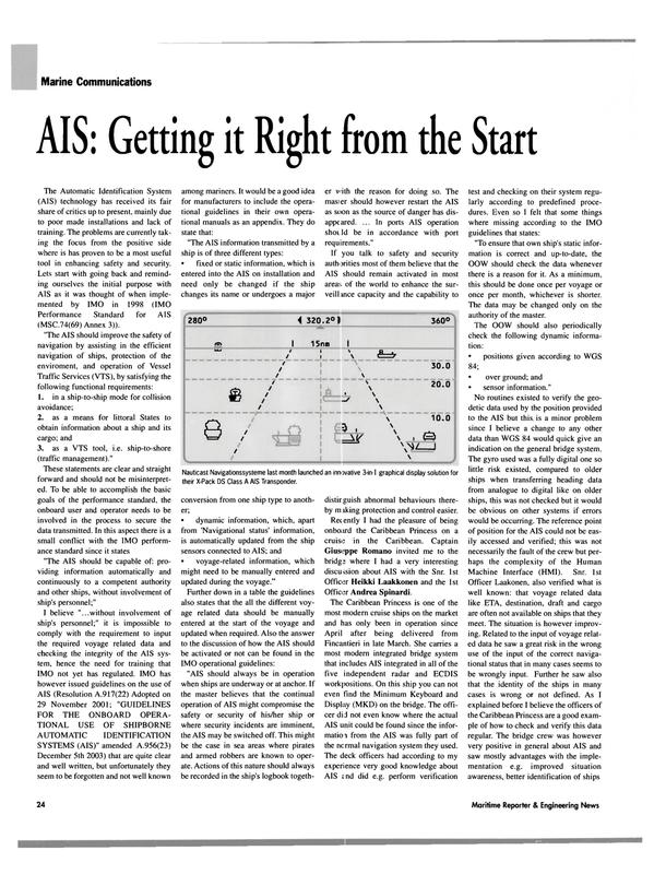 Maritime Reporter Magazine, page 24,  Oct 2004