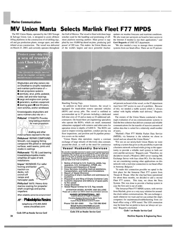Maritime Reporter Magazine, page 28,  Oct 2004