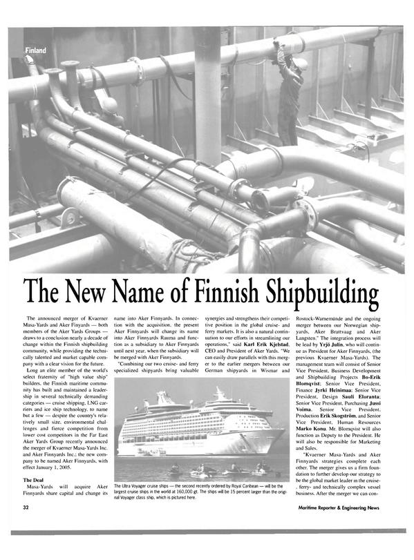 Maritime Reporter Magazine, page 32,  Oct 2004 Karl Erik Kjelstad