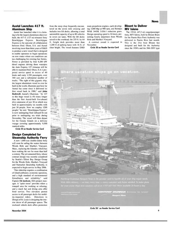 Maritime Reporter Magazine, page 9,  Nov 2004