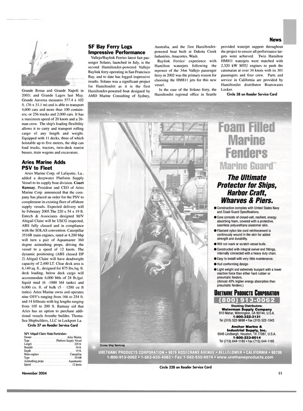 Maritime Reporter Magazine, page 11,  Nov 2004 Washington