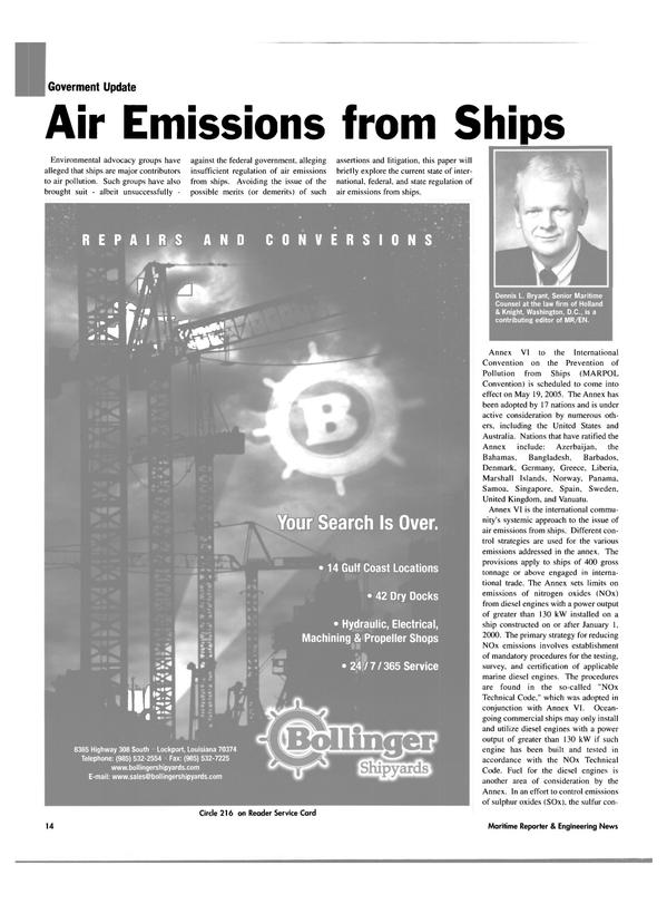Maritime Reporter Magazine, page 14,  Nov 2004