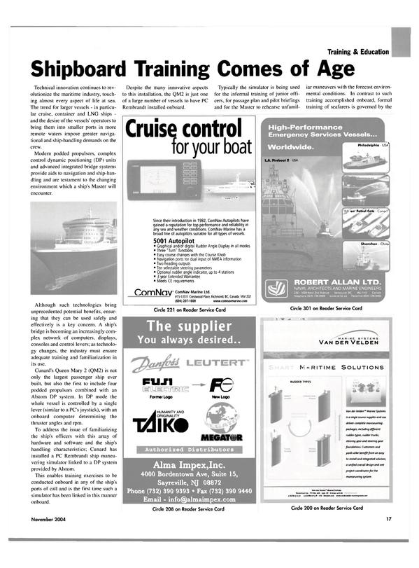 Maritime Reporter Magazine, page 17,  Nov 2004