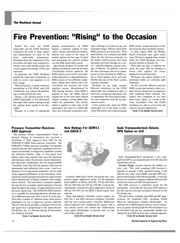 Maritime Reporter Magazine, page 46,  Nov 2004