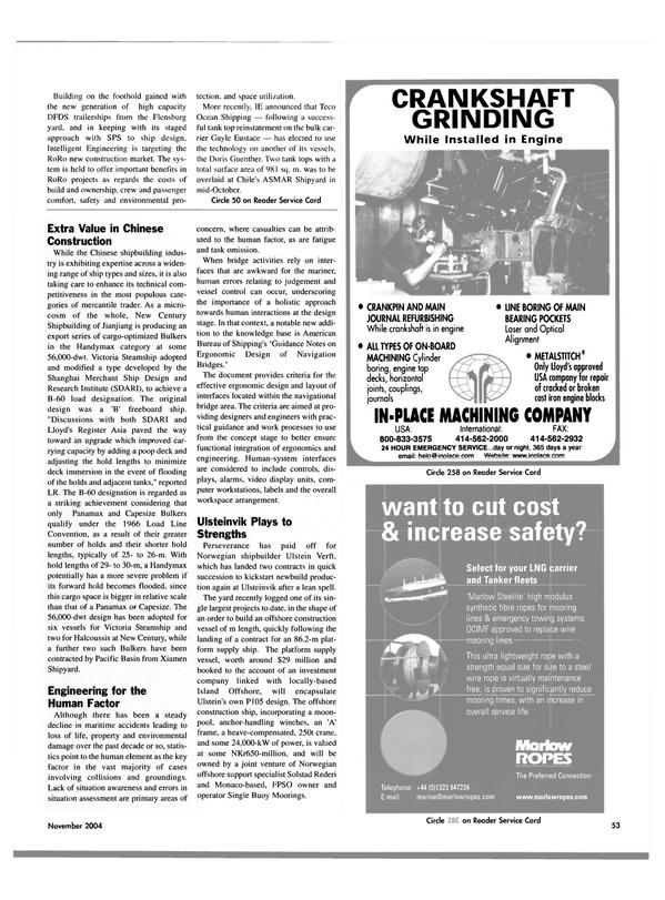 Maritime Reporter Magazine, page 53,  Nov 2004