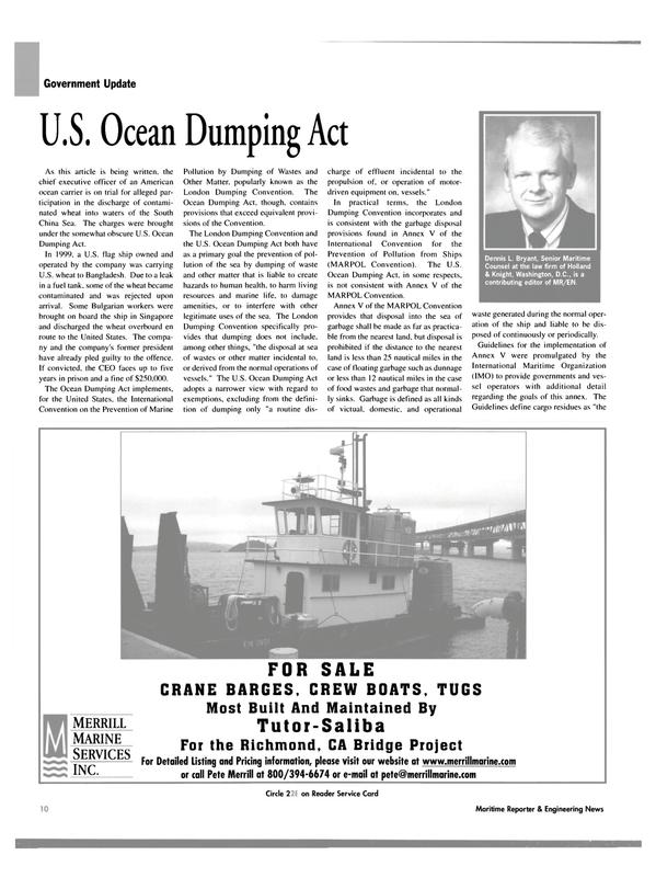 Maritime Reporter Magazine, page 10,  Dec 2004 Dennis L. Bryant