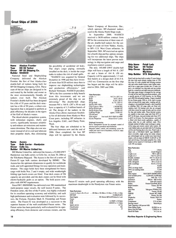 Maritime Reporter Magazine, page 18,  Dec 2004 U.S. west coast