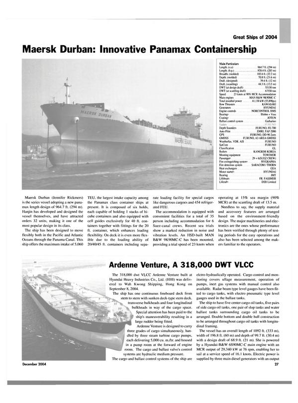 Maritime Reporter Magazine, page 27,  Dec 2004