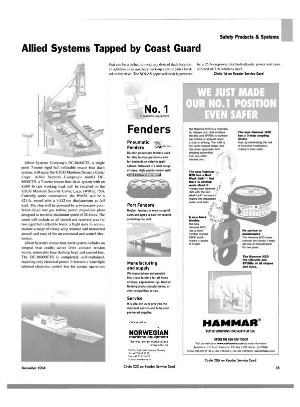 Maritime Reporter Magazine, page 35,  Dec 2004 gas turbine power propulsion plant