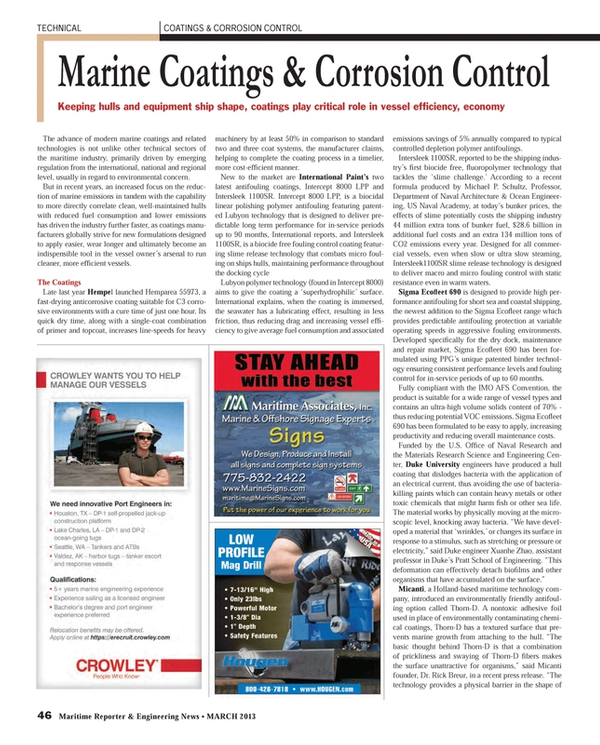 Maritime Reporter Magazine, page 46,  Mar 2013 antifouling featuring patent-ed Lubyon technology