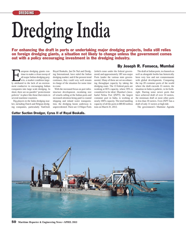 Maritime Reporter Magazine, page 50,  Apr 2013 Jan De Nul