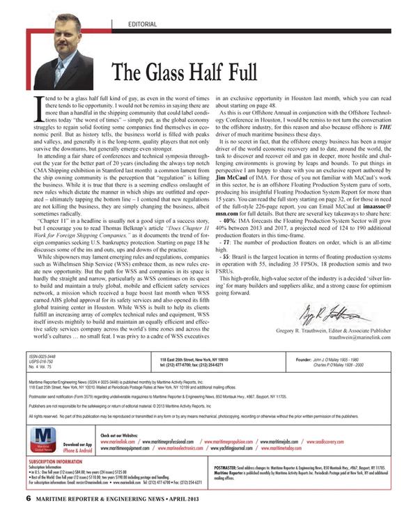 Maritime Reporter Magazine, page 6,  Apr 2013