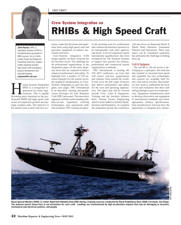 Maritime Reporter Magazine, page 22,  May 2013 United States Navy