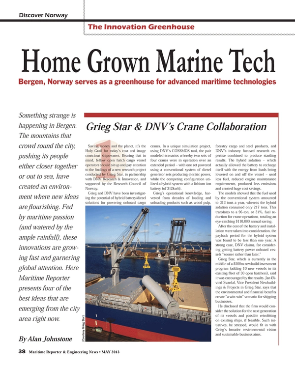 Maritime Reporter Magazine, page 38,  May 2013