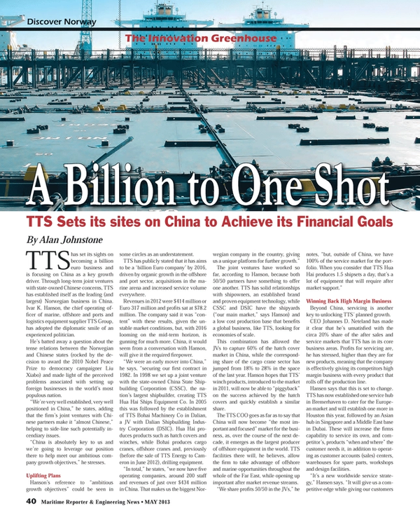 Maritime Reporter Magazine, page 40,  May 2013
