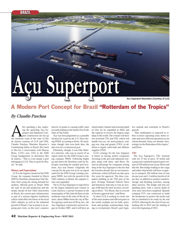 Maritime Reporter Magazine, page 42,  May 2013 S??o Paulo