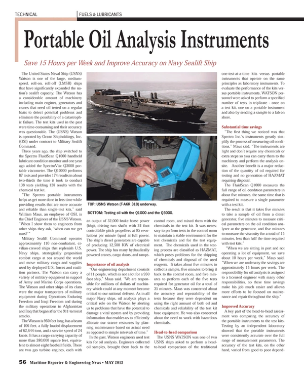 Maritime Reporter Magazine, page 56,  May 2013