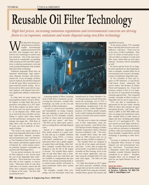 Maritime Reporter Magazine, page 58,  May 2013 Corporation?s-Racor Filtration Division