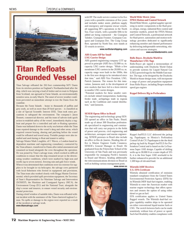 Maritime Reporter Magazine, page 72,  May 2013