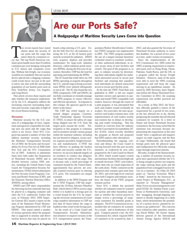Maritime Reporter Magazine, page 16,  Jul 2013 Security Management