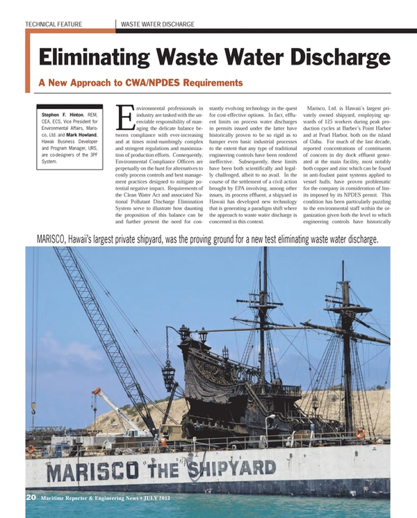 Maritime Reporter Magazine, page 20,  Jul 2013 Environmental Protection Agency