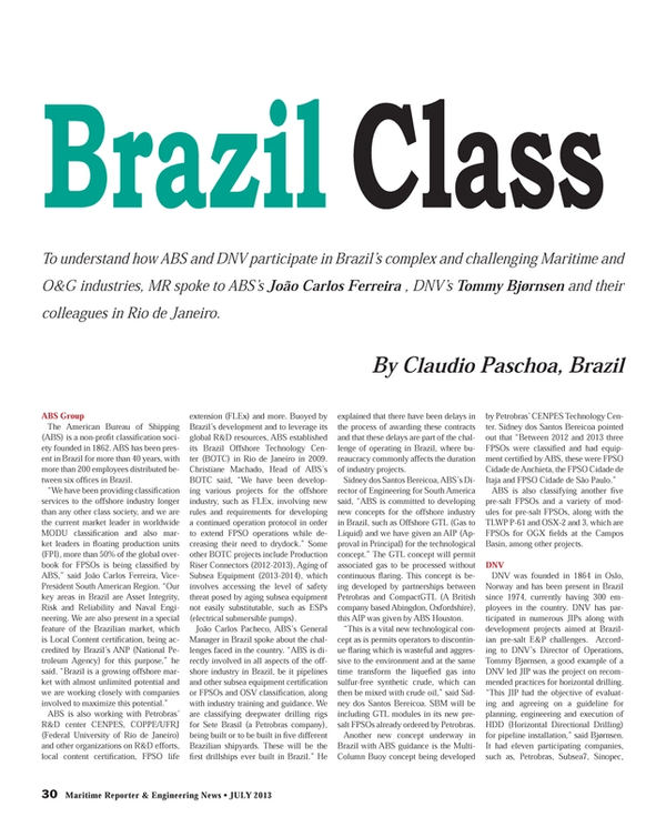Maritime Reporter Magazine, page 30,  Jul 2013 Claudio Paschoa