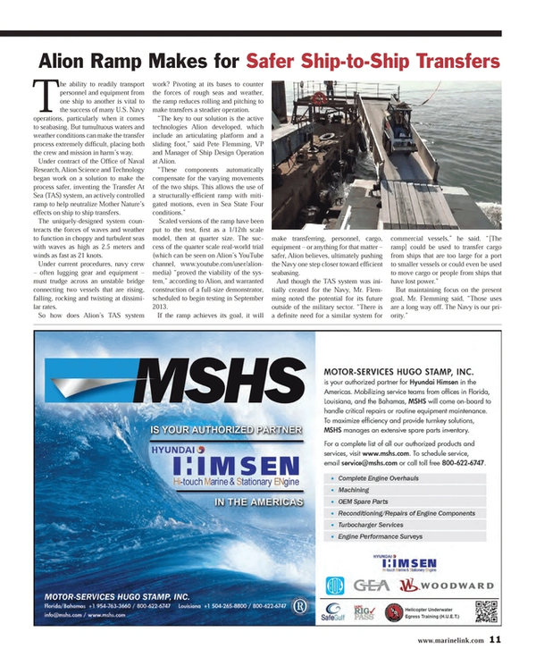 Maritime Reporter Magazine, page 11,  Aug 2013