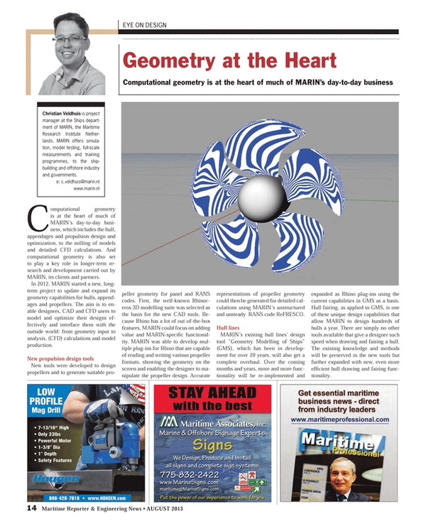 Maritime Reporter Magazine, page 14,  Aug 2013