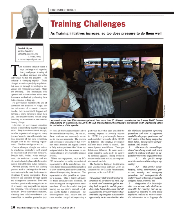 Maritime Reporter Magazine, page 16,  Aug 2013