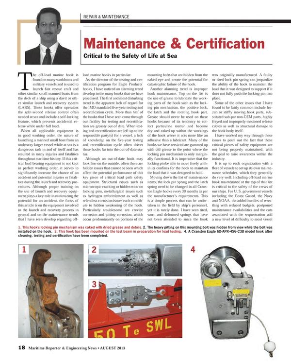 Maritime Reporter Magazine, page 18,  Aug 2013