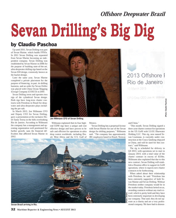 Maritime Reporter Magazine, page 32,  Aug 2013 Claudio PaschoaSevan