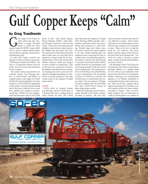Maritime Reporter Magazine, page 34,  Aug 2013