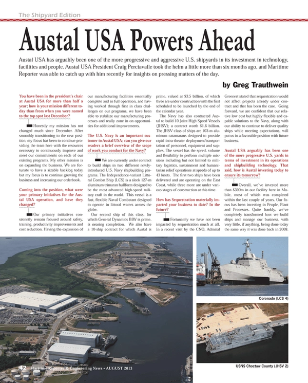 Maritime Reporter Magazine, page 42,  Aug 2013