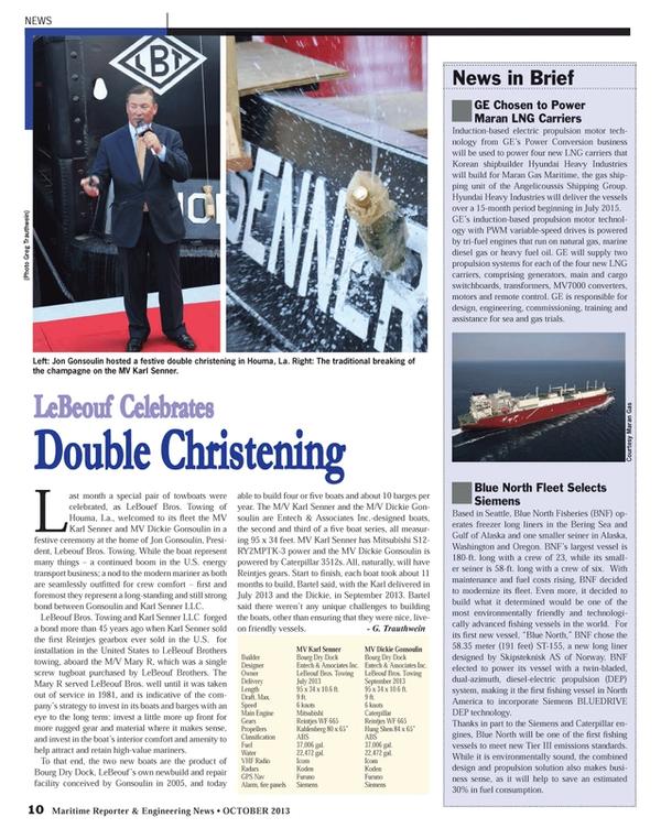 Maritime Reporter Magazine, page 10,  Oct 2013