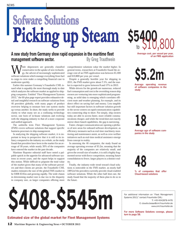Maritime Reporter Magazine, page 12,  Oct 2013