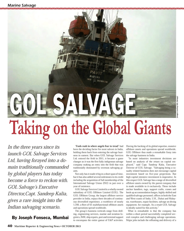 Maritime Reporter Magazine, page 40,  Oct 2013 East Coast