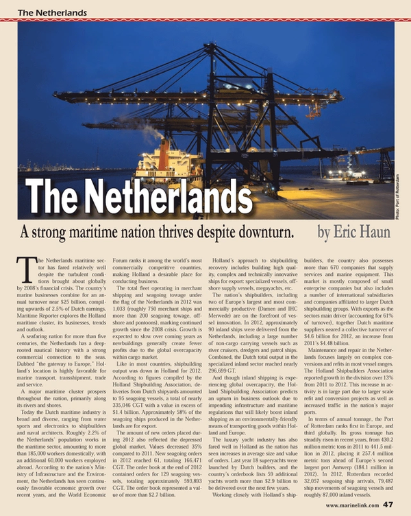 Maritime Reporter Magazine, page 47,  Oct 2013 Rotterdam MR