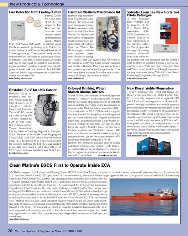 Maritime Reporter Magazine, page 70,  Oct 2013