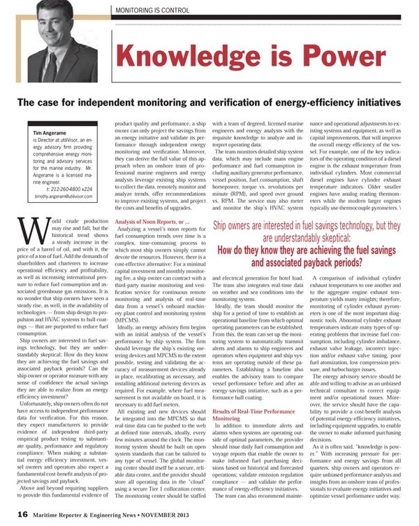 Maritime Reporter Magazine, page 16,  Nov 2013