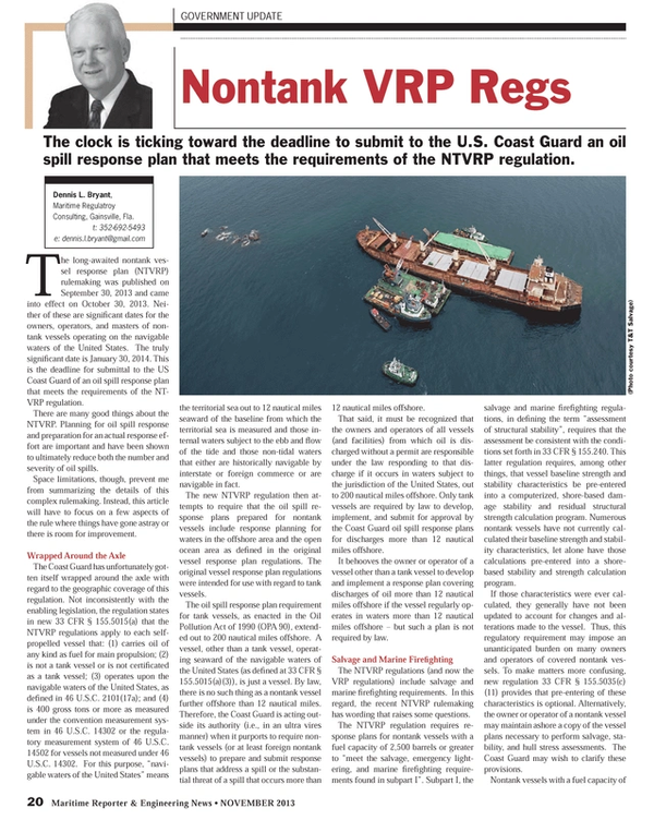 Maritime Reporter Magazine, page 20,  Nov 2013 oil spill response plans