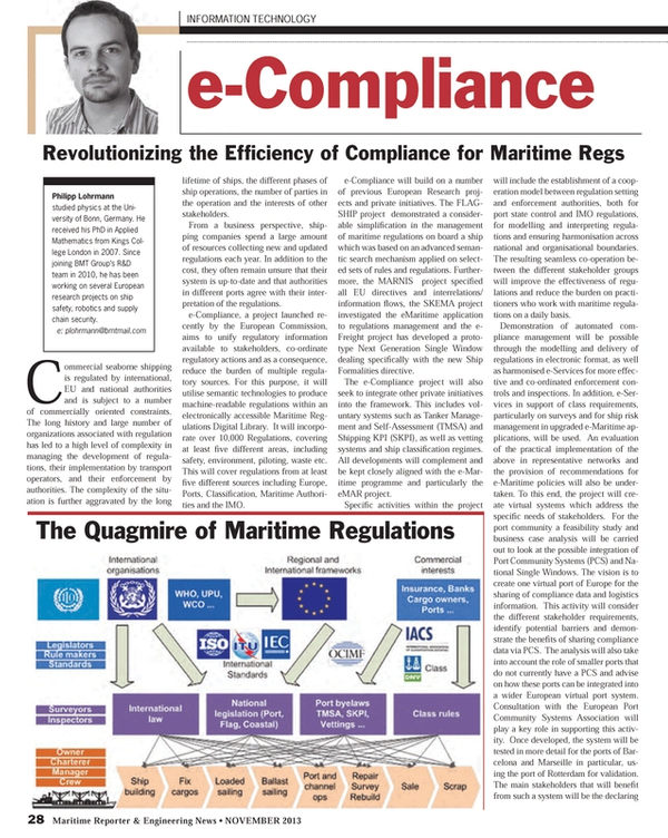 Maritime Reporter Magazine, page 28,  Nov 2013 European Port Community Systems Association