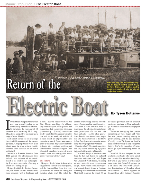 Maritime Reporter Magazine, page 38,  Nov 2013 Gustave Trouve