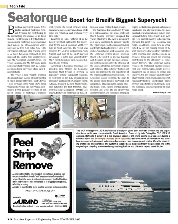 Maritime Reporter Magazine, page 76,  Nov 2013 Manoel Chaves